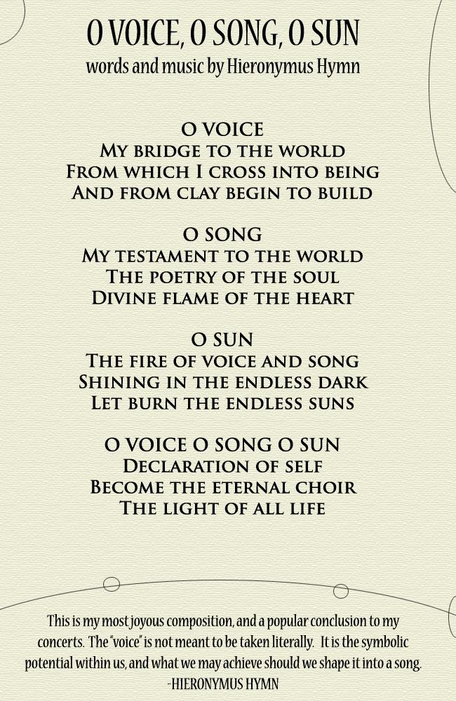 O Voice O Song O Sun